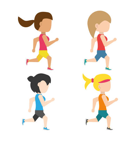 endurance: athletes running in competition championship, vector illustration