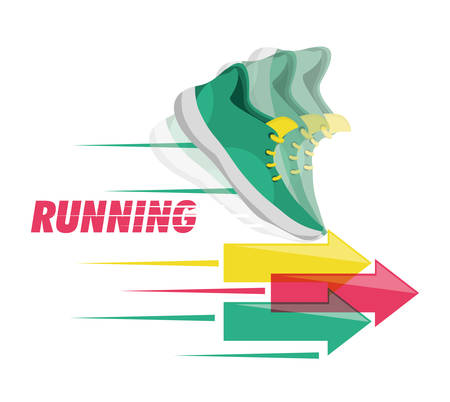 endurance run: running shoes sport competition concept, vector illustration