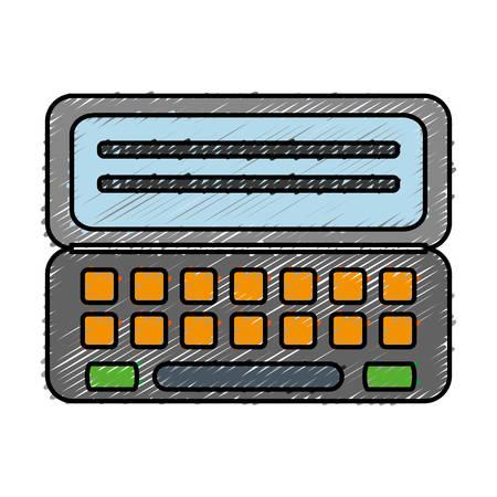 addition: calculator device icon over white background. colorful design. vector illustration