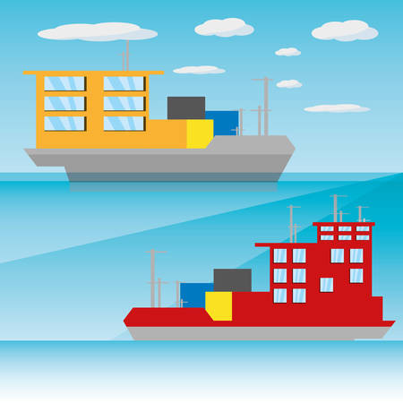 navigating: freight ship navigating in the ocean, vector illustration