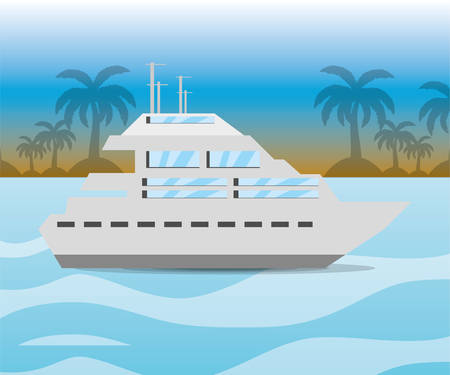 navigating: yacht navigating in the ocean near a island, vector illustration Illustration