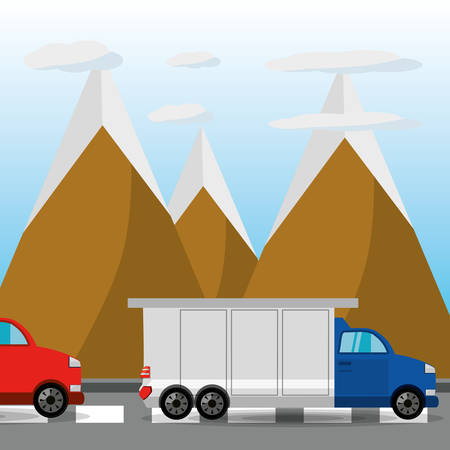 rood: car and truck over rood with mountain landscape, vector illustration