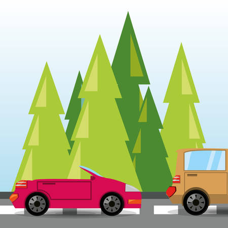 rood: car and truck over rood with forestal landscape, vector illustration
