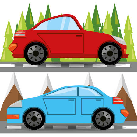 car and truck over rood with forestal landscape, vector illustration Stock Vector - 78271698