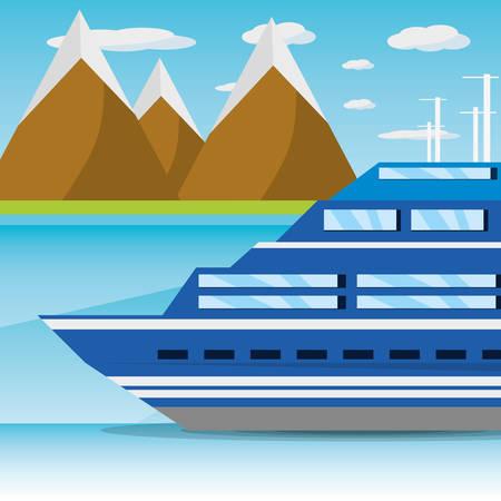 ベクトル図、島の近くの海で航行している船舶