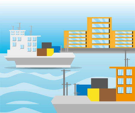 navigating: freight ship navigating in the ocean near the city, vector illustration