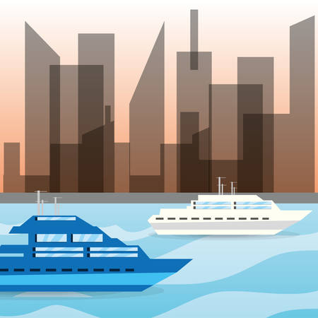 navigating: yacht navigating in the ocean near the city, vector illustration