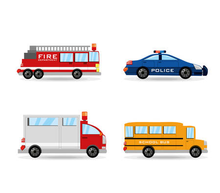 fire truck, police, ambulance and bus set icon flat, vector illustration