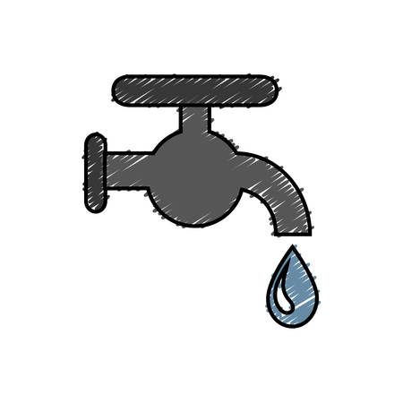 ooze: A water faucet icon over white background. vector illustration