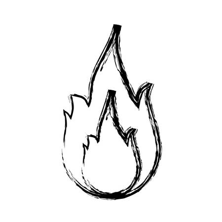flammable warning: fire flame icon over white background. vector illustration