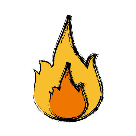 fire flame icon over white background. vector illustration