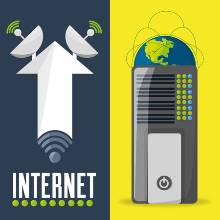 satellite and router related with internet connectivity, vector illustration