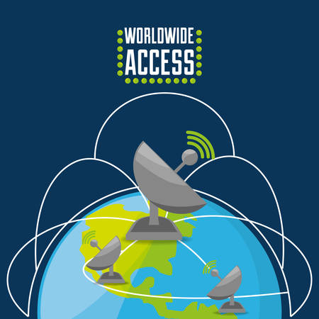 connectivity: satellite over world, connectivity concept, vector illustration