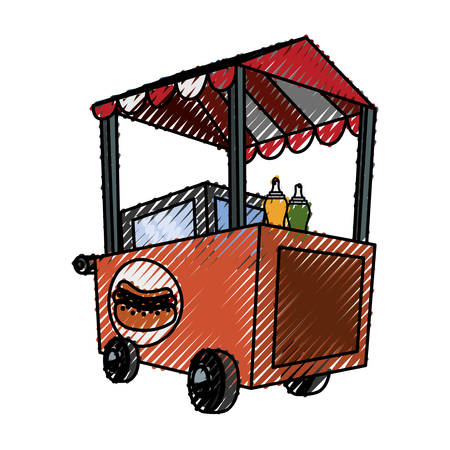 Hot dog cart icon vector illustrationm graphic design