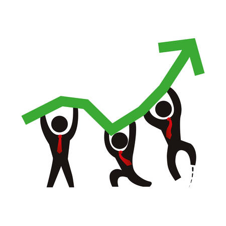 Business men growing statistics icon vector illustration graphic design