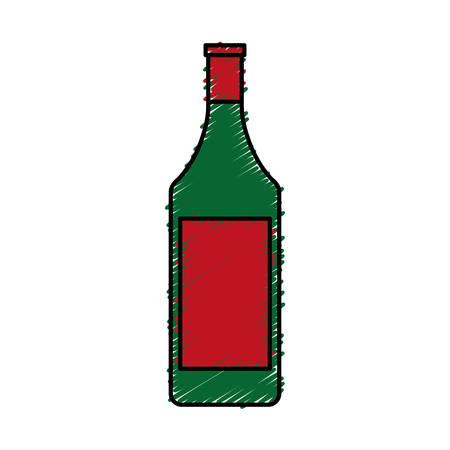 white wine: wine bottle icon over white background. vector illustration
