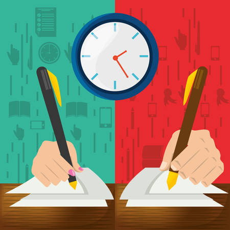 cute hand with pen and paper test, vector illustration Illustration