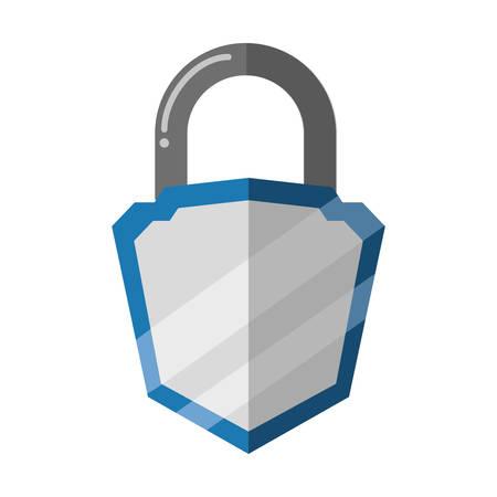 padlock security shield vector icon illustration graphic design Ilustração