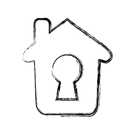 tool unlock: home keyhole pictogram vector icon illustration graphic design Illustration