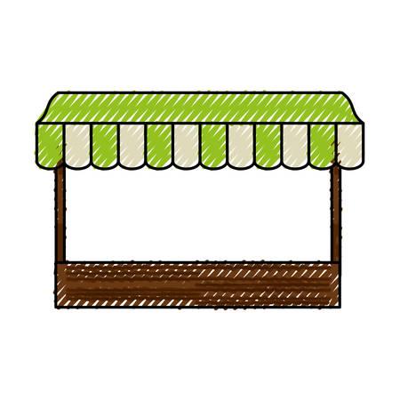 mujer en el supermercado: wooden mini market icon vector illustration graphic design