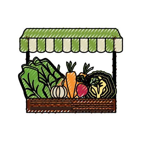wooden mini market icon vector illustration graphic design