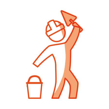 whitewash: worker man silhouette icon vector illustration graphic design Illustration