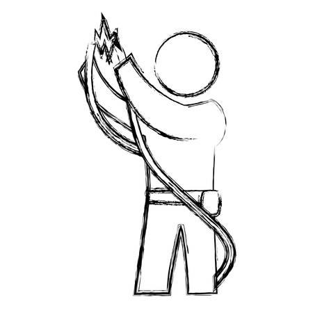 worker man silhouette icon vector illustration graphic design Illustration