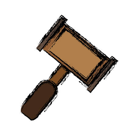 hammer law icon over white background. vector illustration Illustration