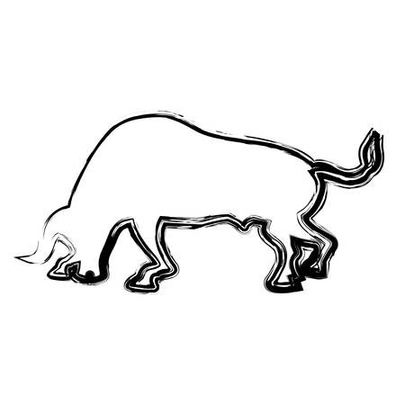 silhouette of bull icon over white background. vector illustration Illustration