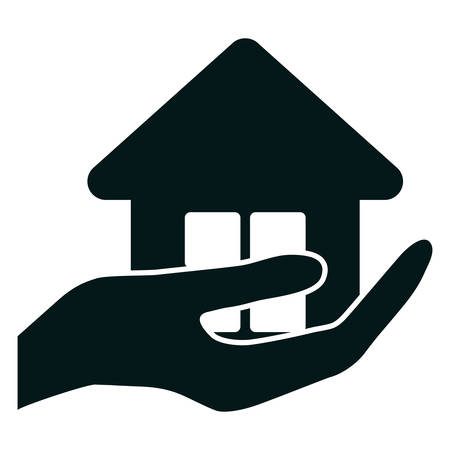 real estate house: hand holding a  house icon over white background. vector illustration Illustration