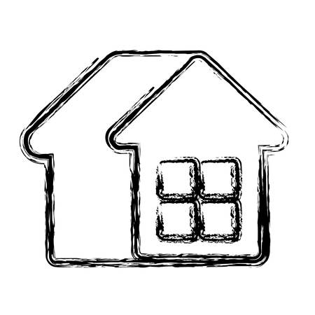 real estate house: house emblem icon over white background. vector illustration