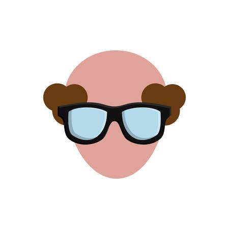 白い背景の上の眼鏡のアイコンを持つ男。カラフルなデザイン。ベクトル図