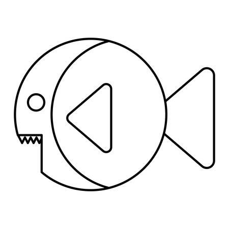 fish icon over white background. colorful design. vector illustration