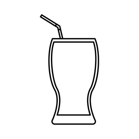 glass with drink and straw icon over white background. vector illustration