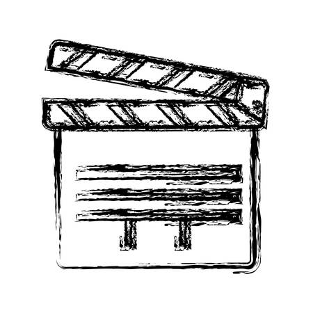 movie theater: clapboard icon over white background. vector illustration