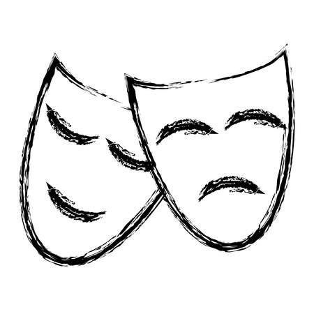 theater masks icon over white background. vector illustration