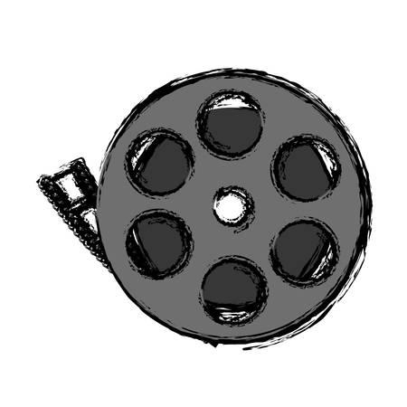 cinema reel tape icon over white background. vector illustration