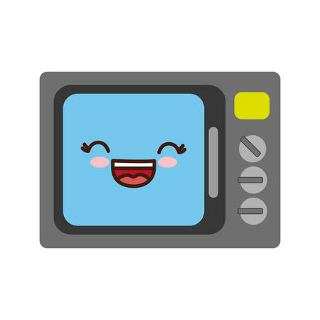 kawaii microwave icon over white background. vector illustration