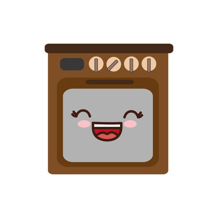 kawaii oven icon over white background. home appliances concept. vector illustration
