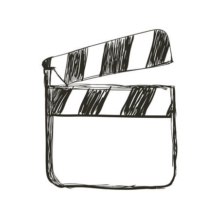 clapper board action video filmstrips, vector illustration Banco de Imagens - 78749948