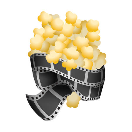popcorn food with filmstrips and short film, vector illustration