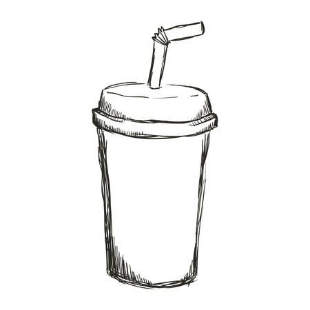 figure soda beverage in the cinema movie scene, vector illustration