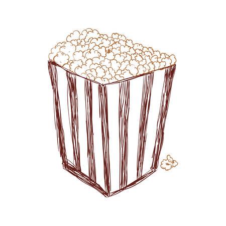 popcorn food in the cinema movie eat, vector illustration