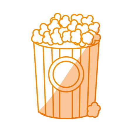 silhouette popcorn food in the cinema movie eat, vector illustration Illustration