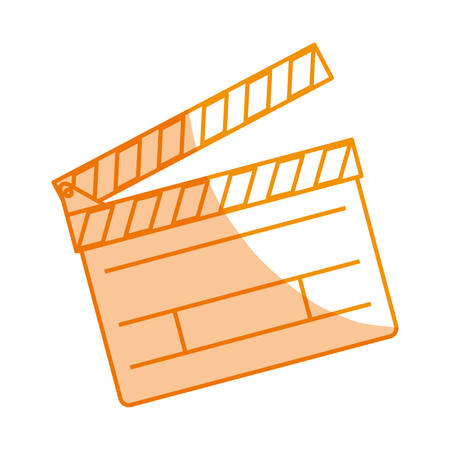 cinema screen: silhouette clapper board action video filmstrips, vector illustration