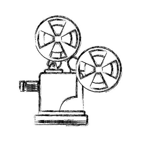 figure short film video camera studio, vector illustration Illustration