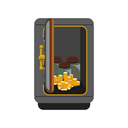 storage box: metal strong box with coins cash money and glass bottles, vector illustration Illustration