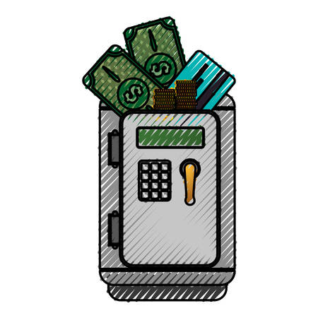storage box: metal strong box with bills, coins and credit card in the door, vector illustration Illustration