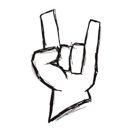 lijn hand omhoog met rock-symbool, vector illustratie Stock Illustratie