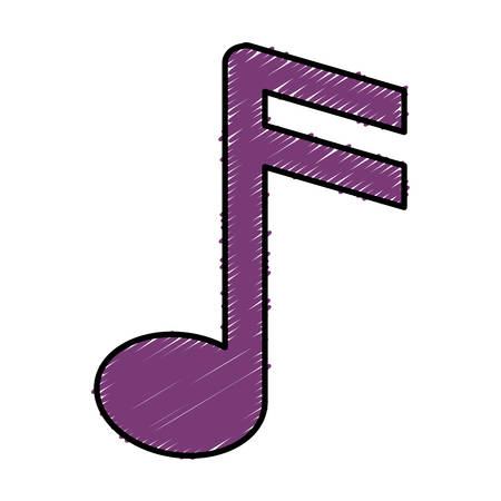 composition: musical note icon over white background. vector illustration